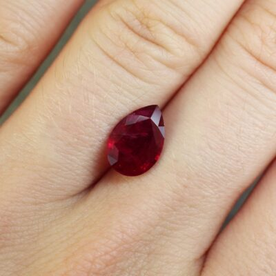 2.11 ct red pear shape ruby