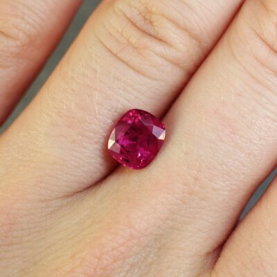 2.13 ct red cushion ruby
