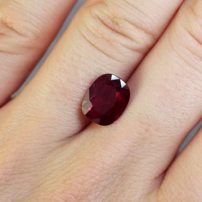 2.91 ct red cushion ruby