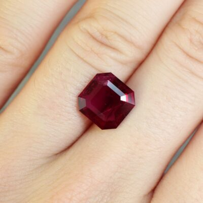 3.06 ct red asscher cut ruby