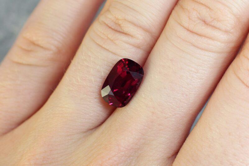 4.06 ct vivid red cushion ruby
