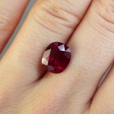 4.40 ct red cushion ruby