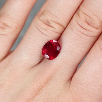 3.49 ct red oval ruby