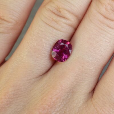 2.00 ct purplish red cushion ruby