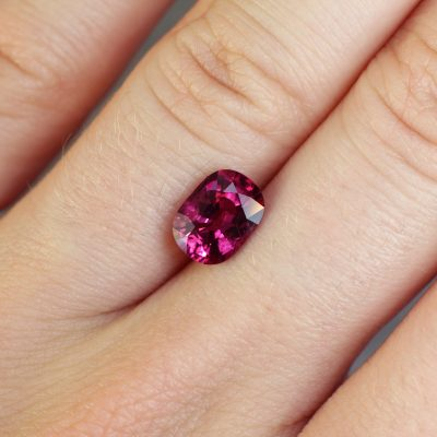 2.02 ct purplish red cushion ruby