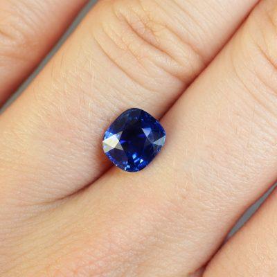 2.08 ct blue cushion sapphire