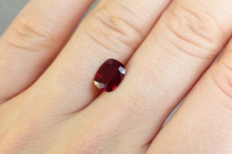 1.53 ct red cushion ruby