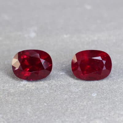 10.44 ct vivid red oval ruby pair
