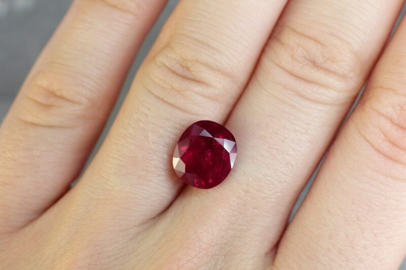 5.09 ct red cushion ruby