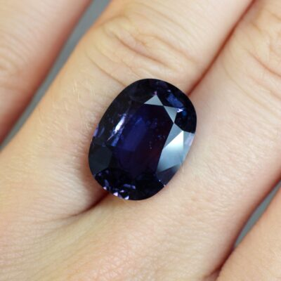 10.55 ct purple colour change cushion sapphire