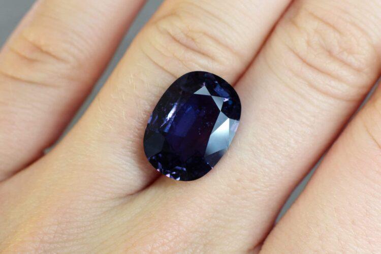 10.55 ct purple colour change cushion sapphire