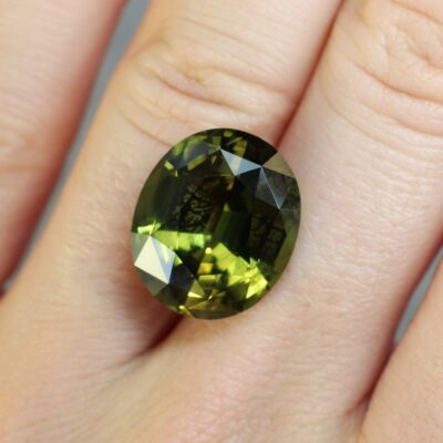 15.14 ct green oval chrysoberyl