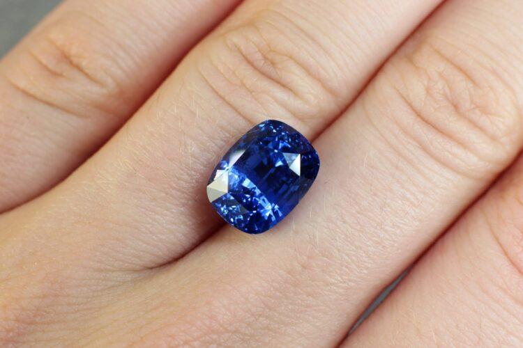 7.56 ct blue cushion sapphire