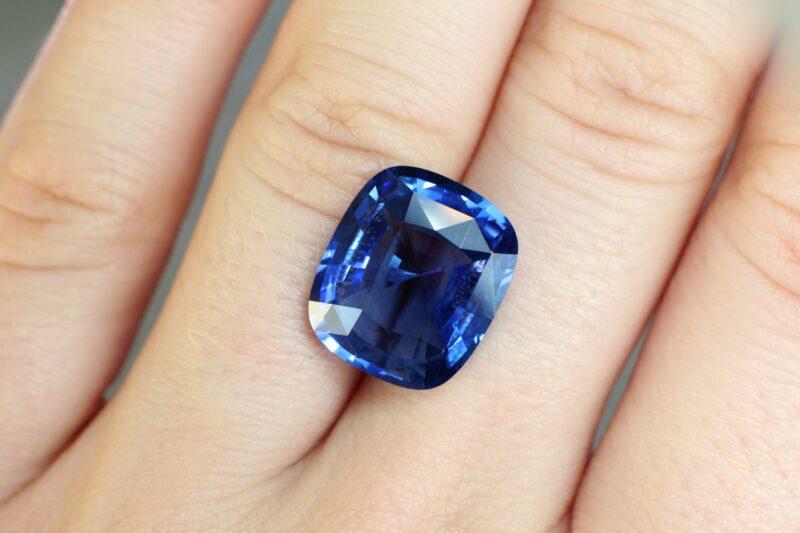 10.13 ct blue cushion sapphire