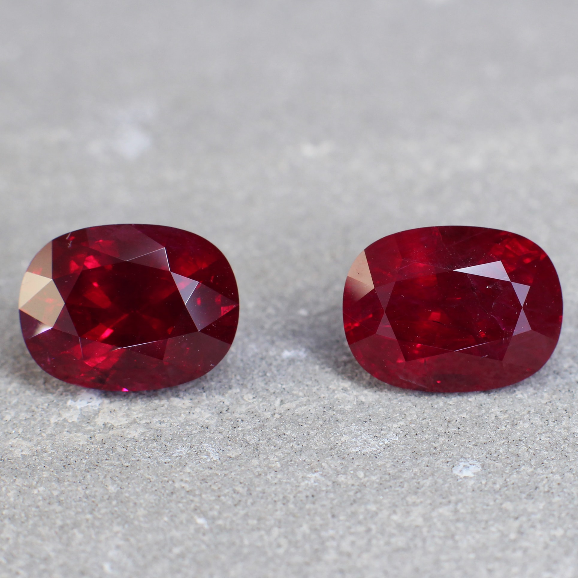 Vivid Red Cushion Ruby Pair