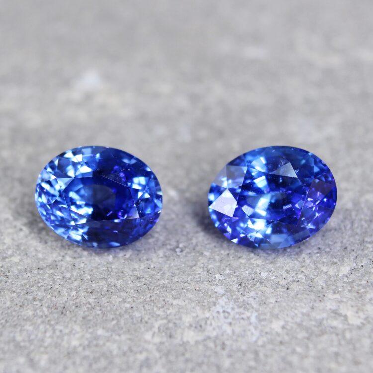 3.62 blue sapphire oval pair