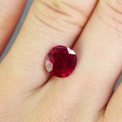 2.63 ct vivid red cushion ruby
