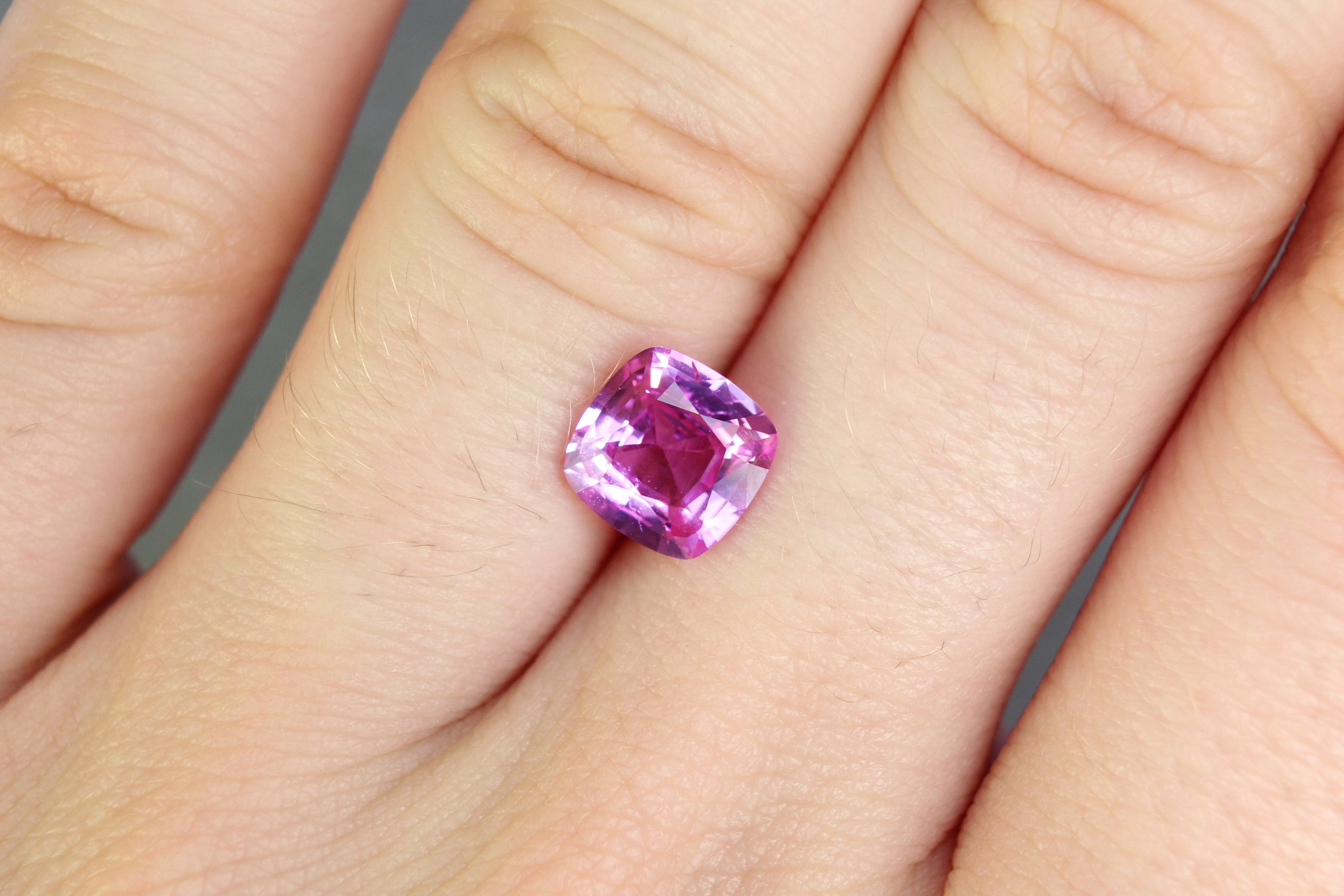 1.68 ct pink cushion sapphire