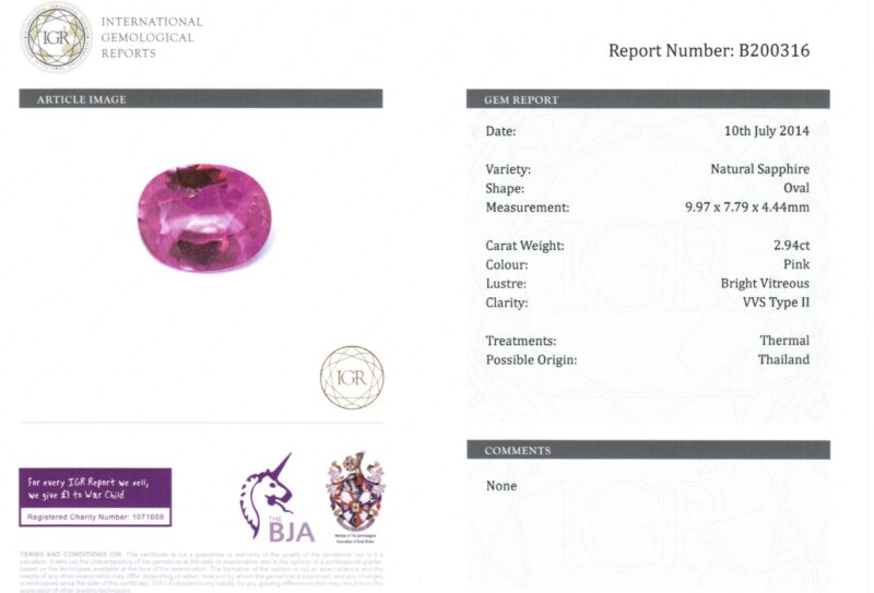 2.94 ct pink oval sapphire