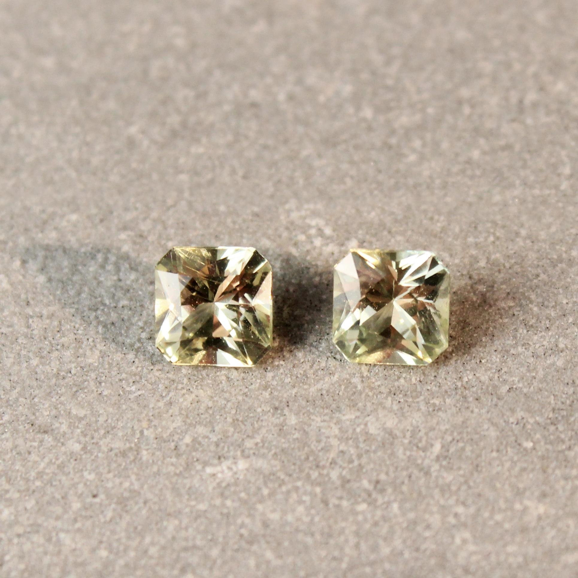 1.46 ct yellow radiant sapphire pair