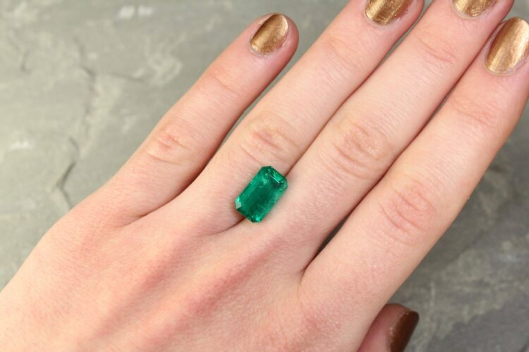 4.12 ct green octagon emerald