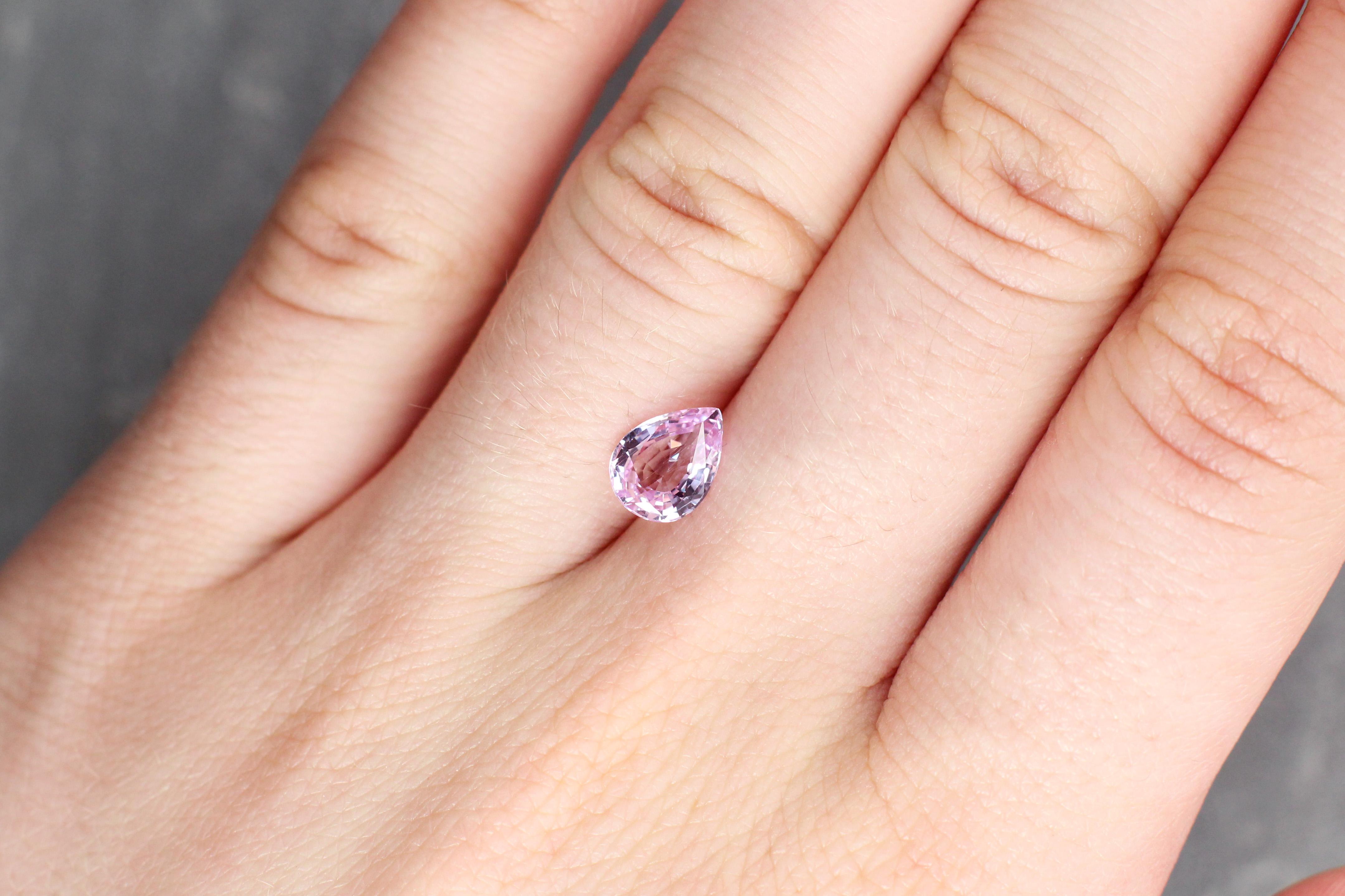1.43 ct light pink pear shape sapphire