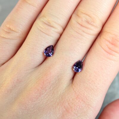 1.94 ct purple pear shape sapphire pair