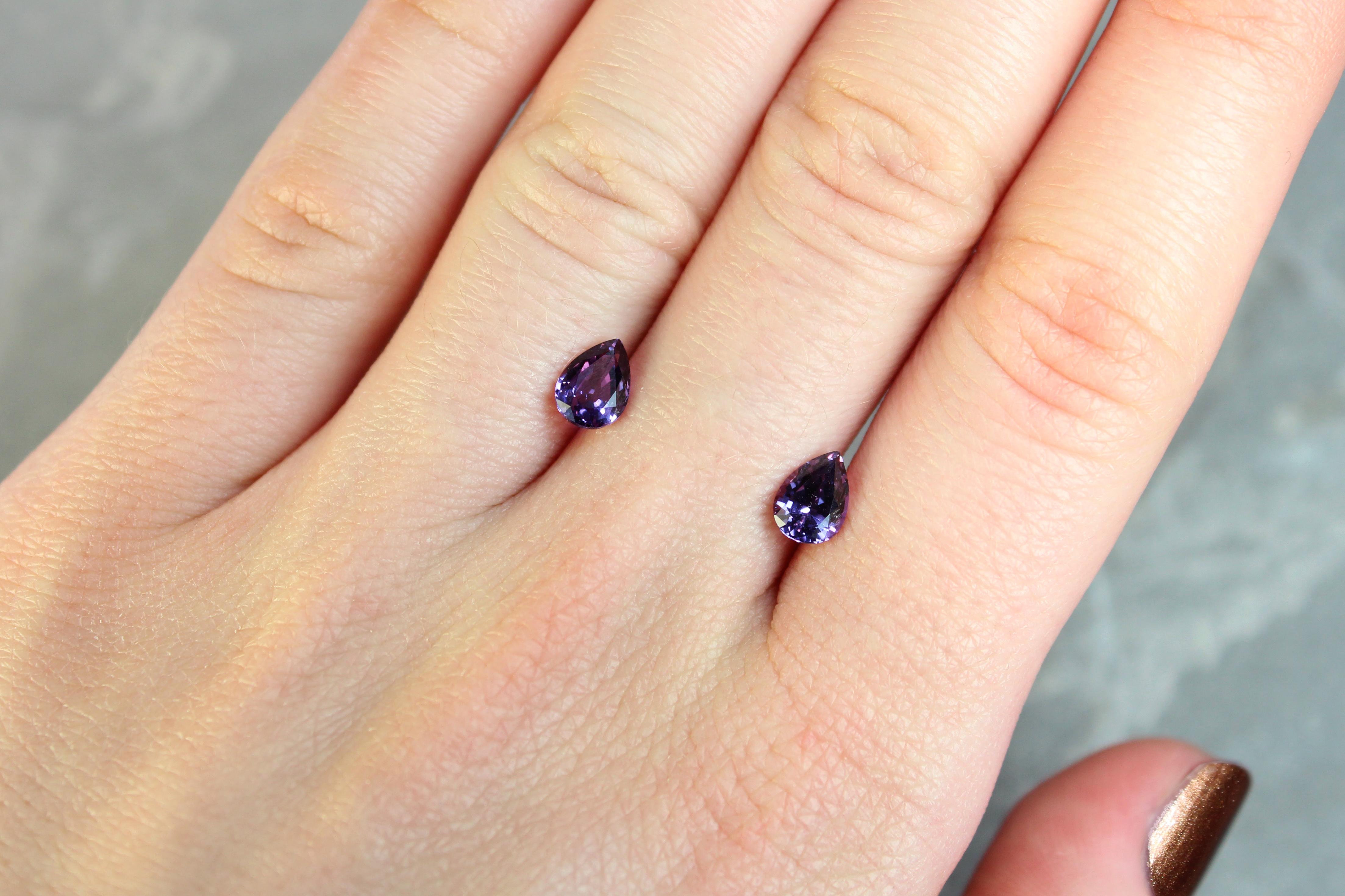 1.94 ct purple pear shape sapphire pair