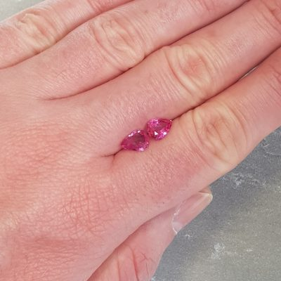 2.03 ct pear shape pink sapphire pair
