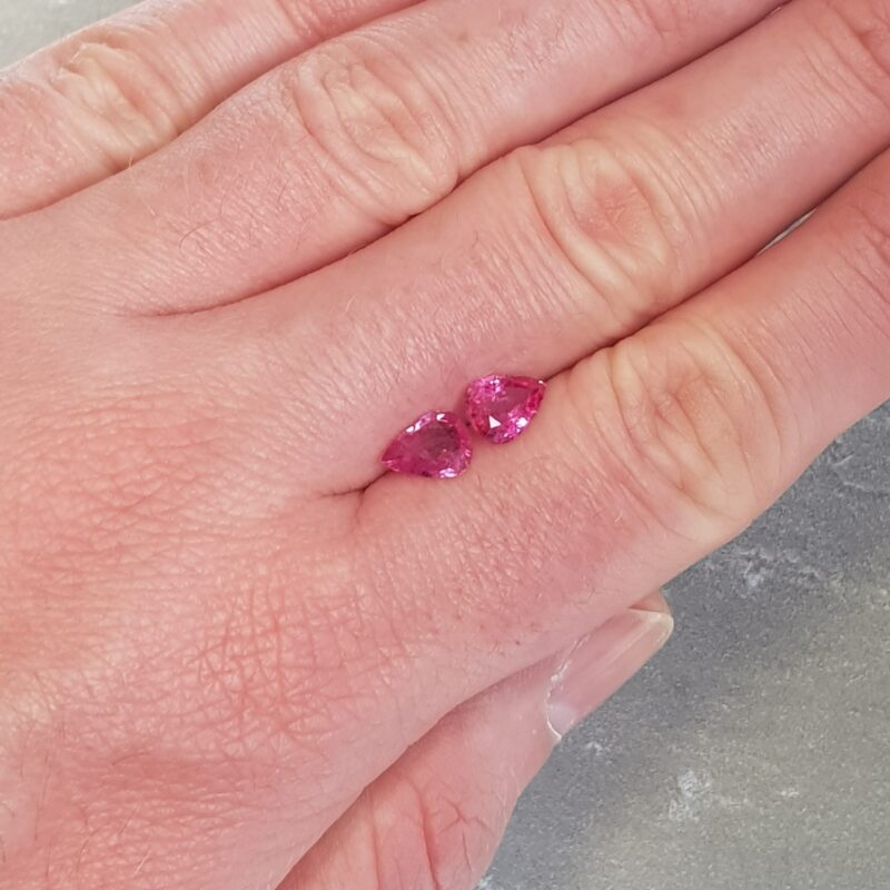 2.03 ct pear shape pink sapphire pair