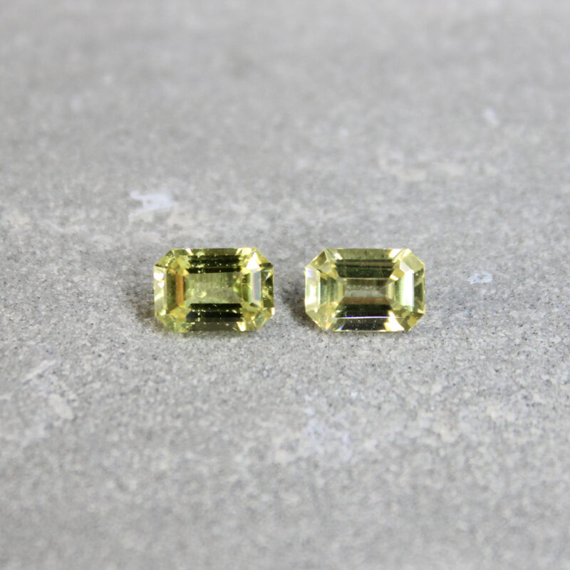2.23 ct yellow octagon sapphire pair