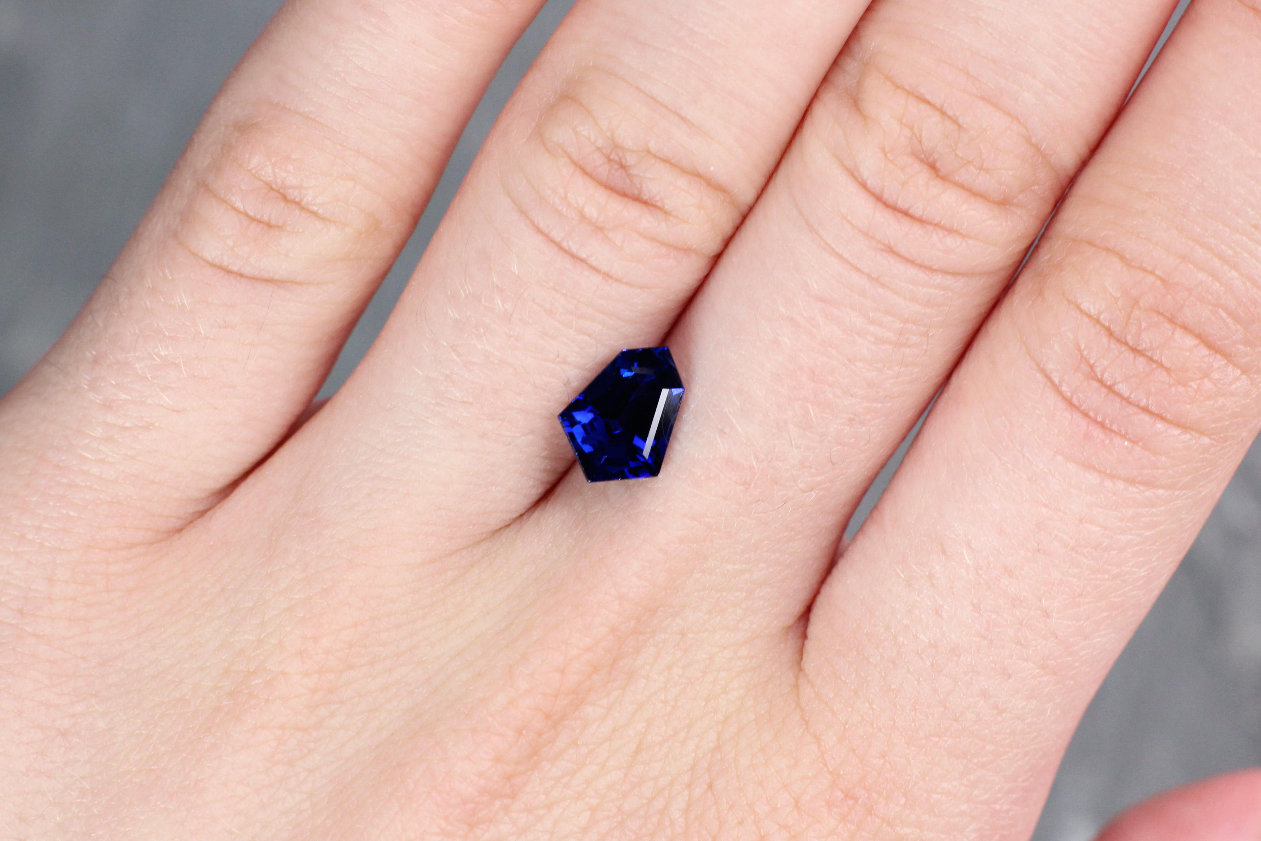 2.31 ct blue fancy shape sapphire