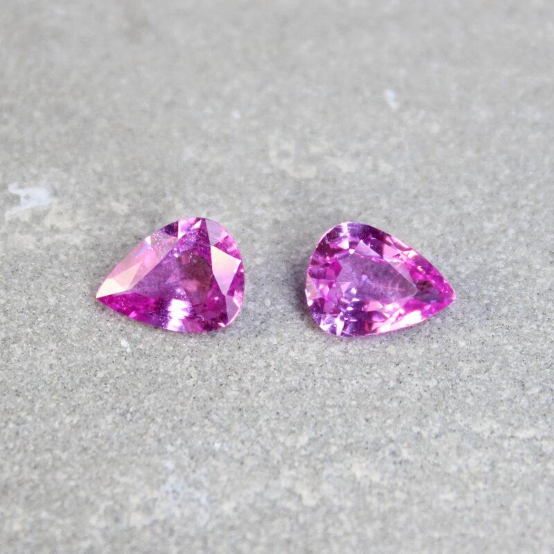 2.82 ct pink pear shape sapphire pair
