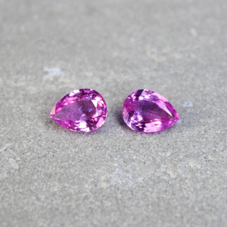 2.85 ct pink pear shape sapphire pair