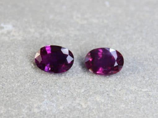3.16 ct purple oval sapphire pair