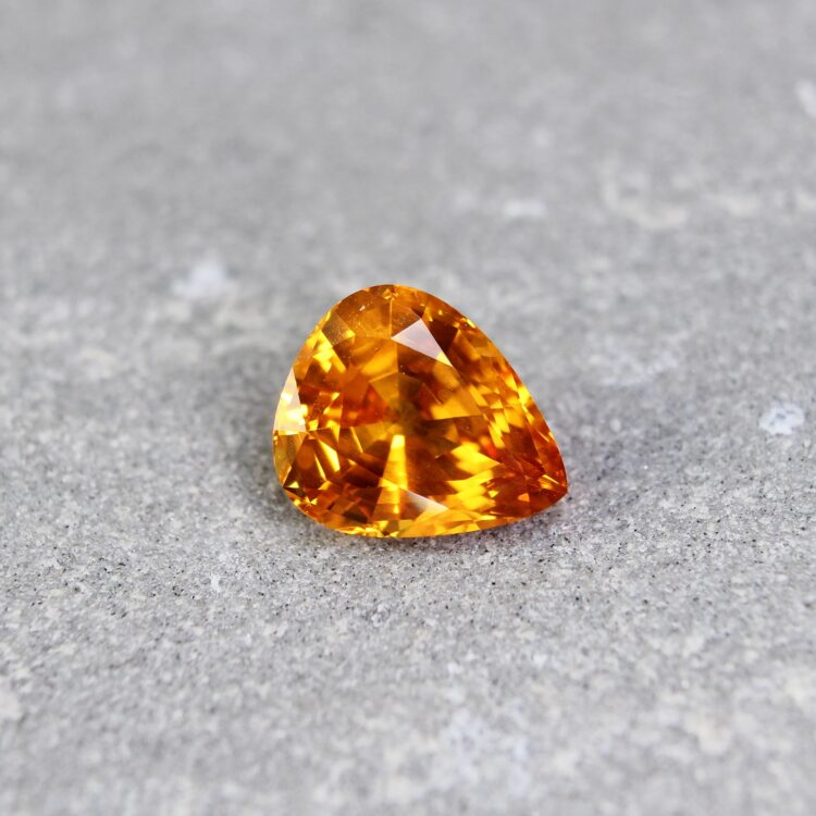 2.69 ct pear shape orange sapphire