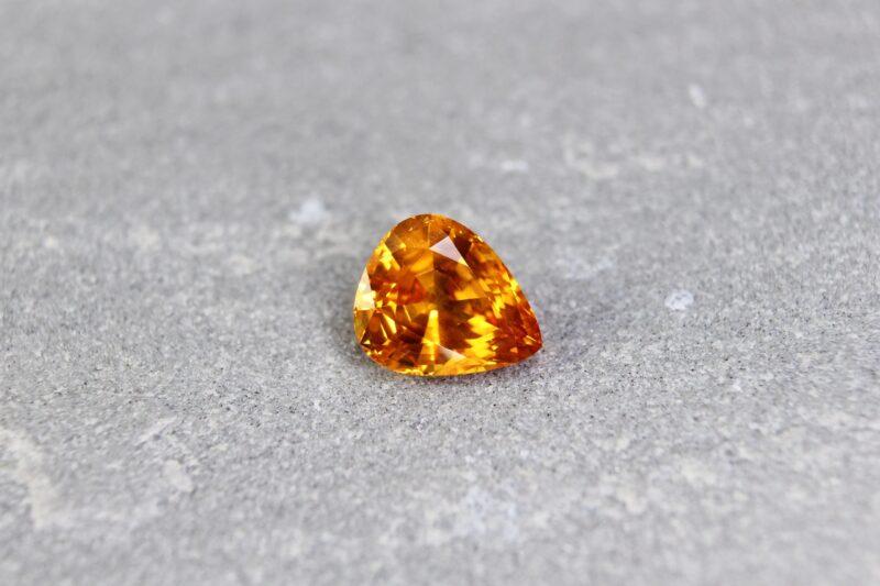 2.69 ct pear shape orange sapphire