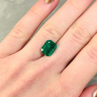 3.62 ct green octagon emerald