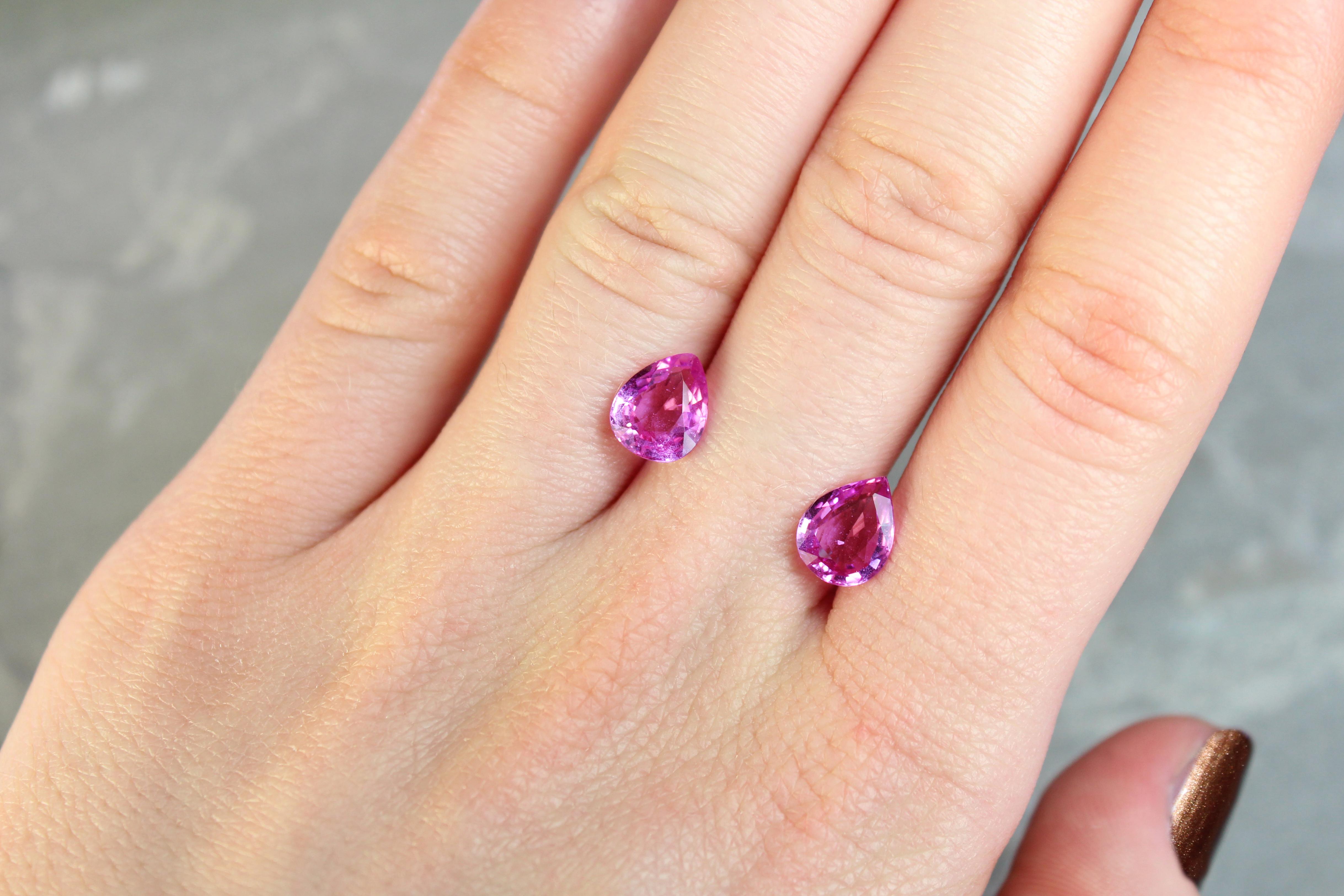 3.67 ct pink pear shape sapphire pair