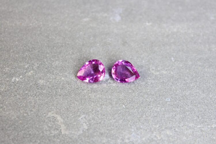 3.67 ct pink pear shape sapphire pair