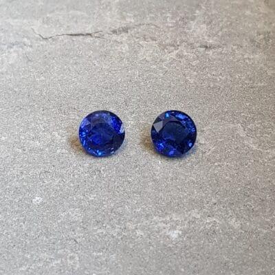 3.70 ct round blue sapphire pair