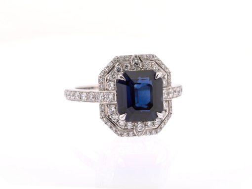 deco sapphire and diamond ring