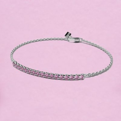 blossom bracelet – pink sapphire and 18k white gold