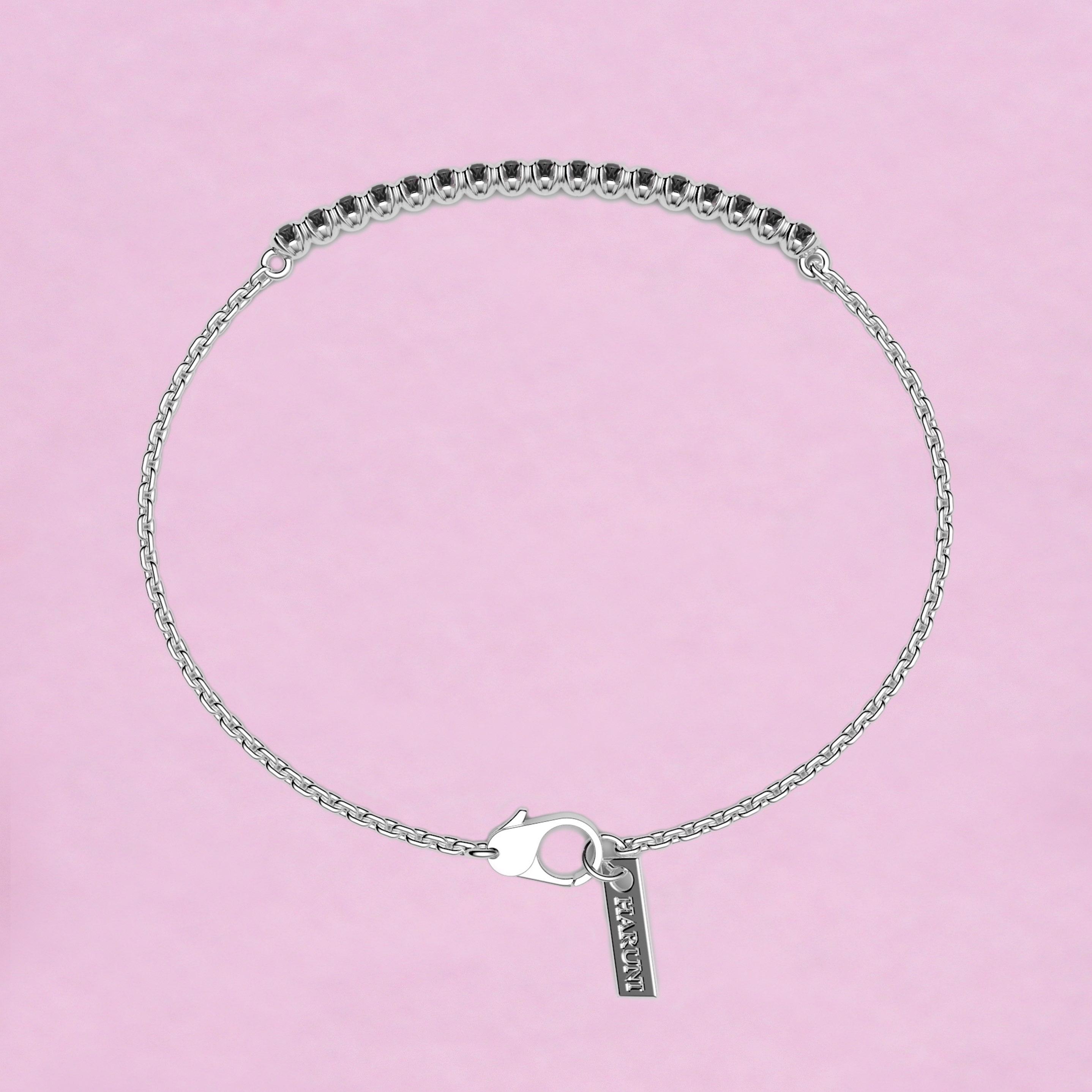 blossom bracelet – black diamond and 18k white gold
