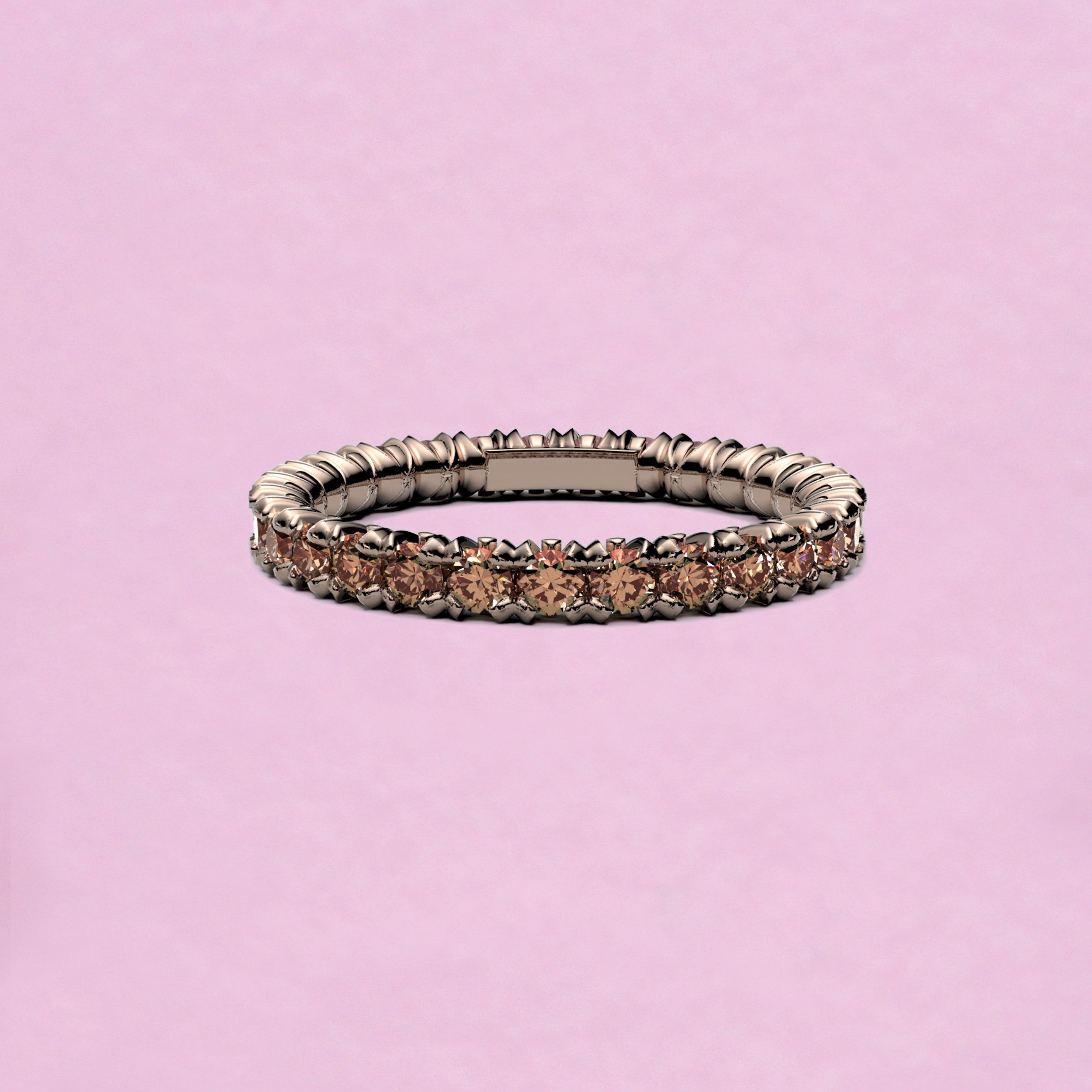 blossom eternity ring - brown diamond and 18k yellow gold