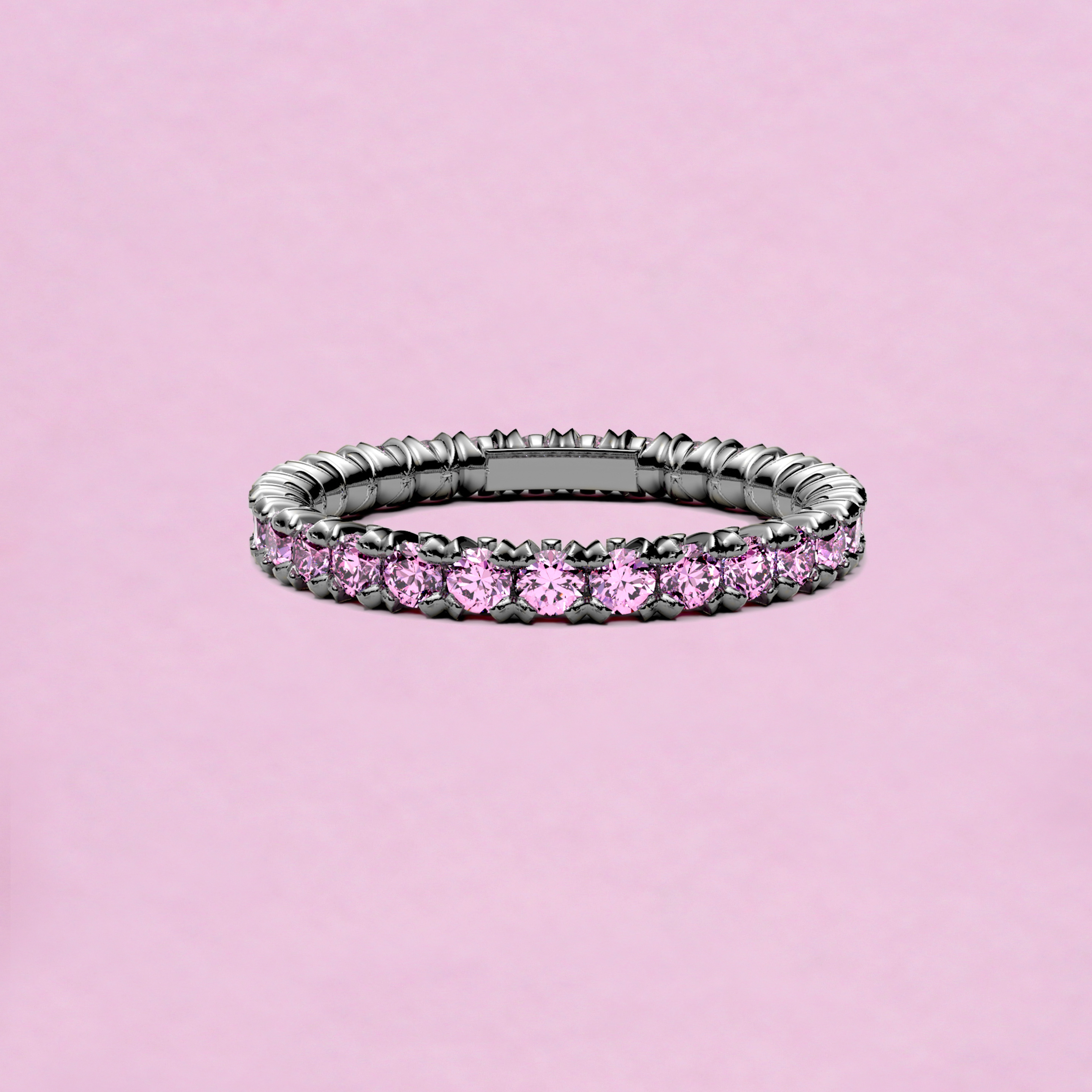 blossom eternity ring - pink sapphire and 18k white gold