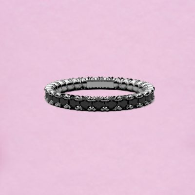 blossom eternity ring - black diamond and 18k white gold