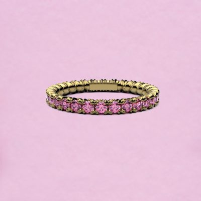 blossom eternity ring - pink sapphire and 18k yellow gold