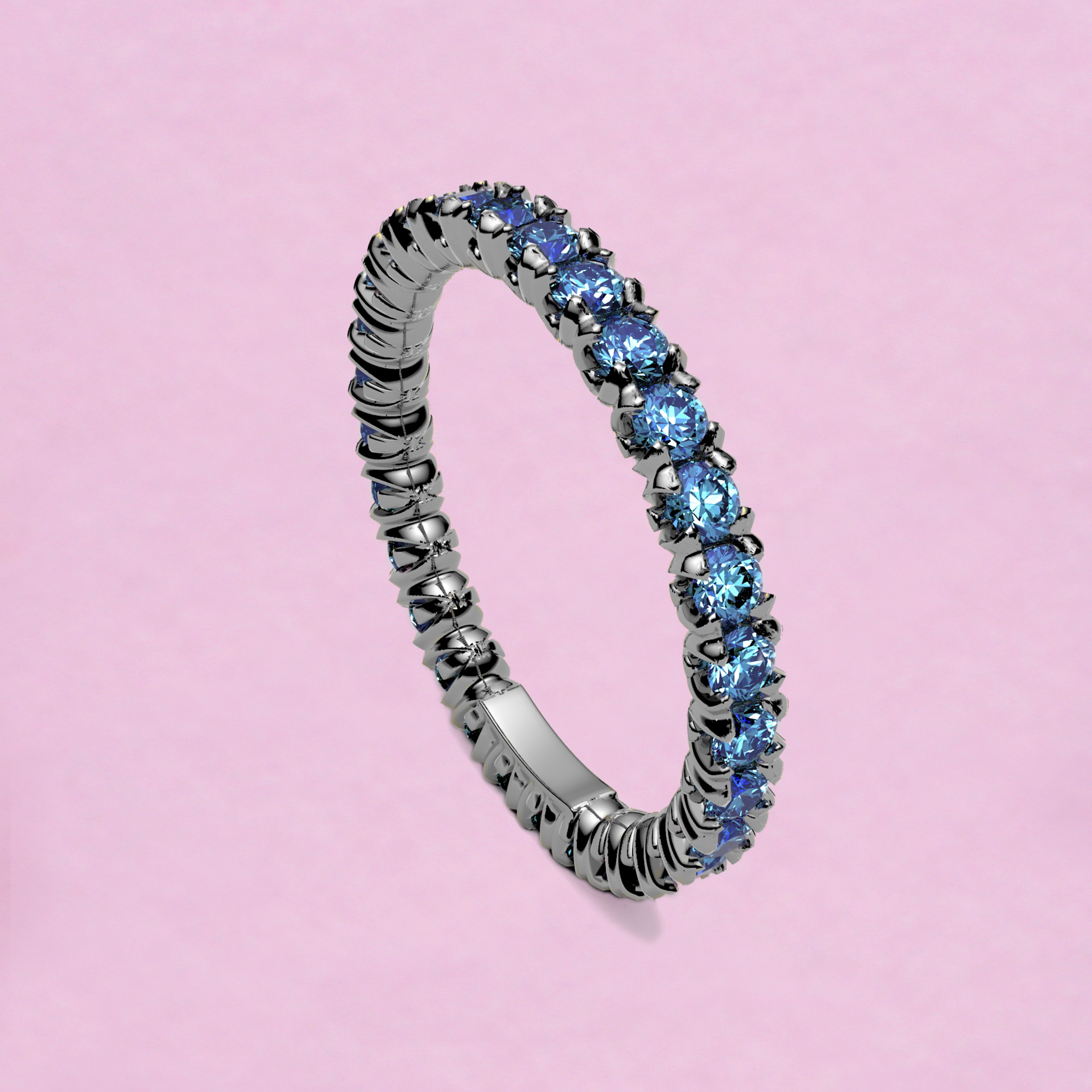 blossom eternity ring - sky blue sapphire and 18k white gold