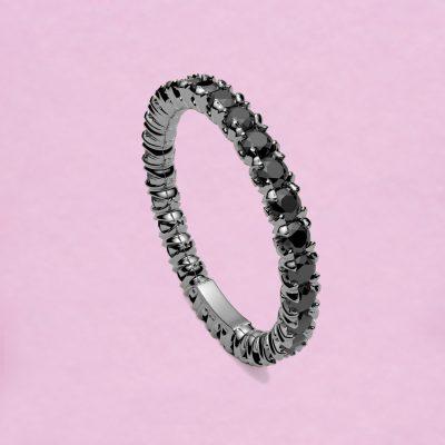 blossom eternity ring - black diamond and 18k white gold
